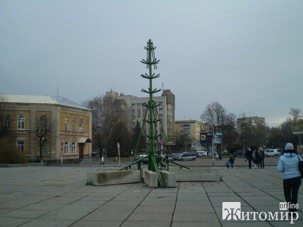 В Житомирі ставлять новорічну ялинку.ФОТО
