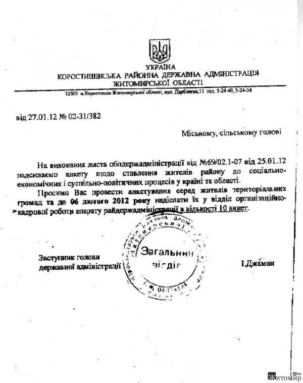 Житомирська ОДА уже використовує адмінресурс?