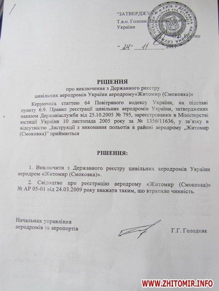 В Житомире уже официально нет аэродрома и почти 50 га земли могут перейти в собственность города
