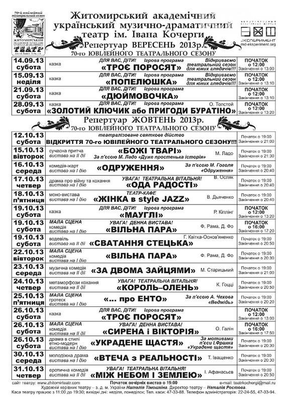 Житомирський драмтеатр відкриває 70-ий ювілейний сезон