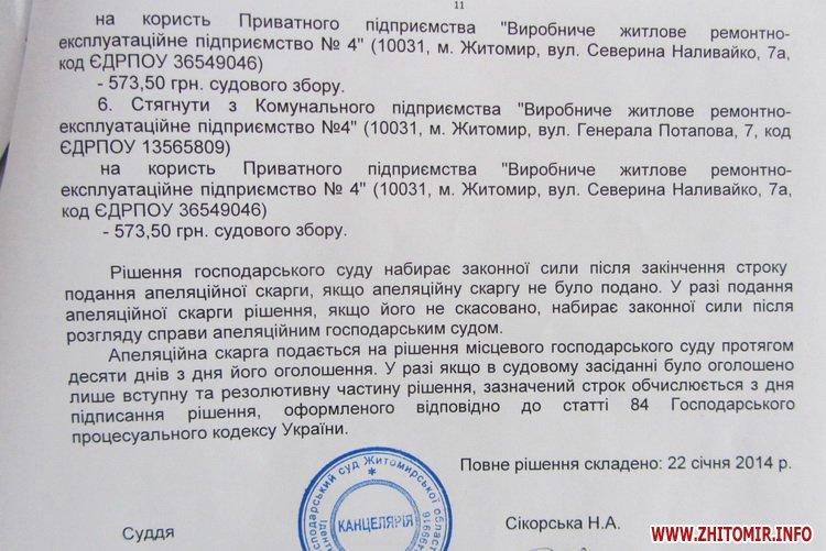 Приватний ЖЕК виграв суд проти управління житлового господарства та Житомирської міської ради