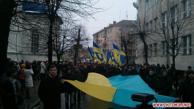 22 січня у Житомирі на акцію «Ланцюг єдності» прийшли кілька тисяч людей