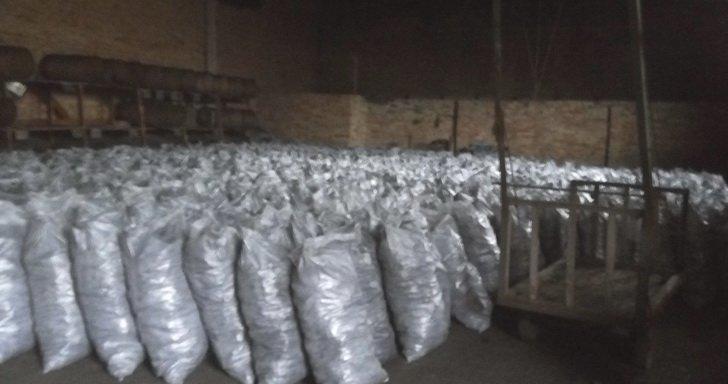 На території колишнього льонокомбінату у Житомирі вилучили майже 700 мішків незаконно випаленого деревного вугілля