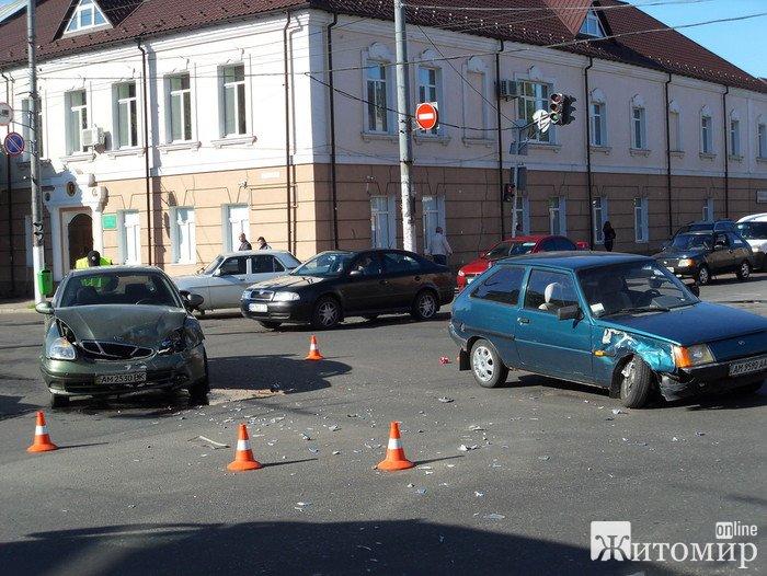 На перехресті вулиць Перемоги та Грушевського в ДТП потрапили два легковики