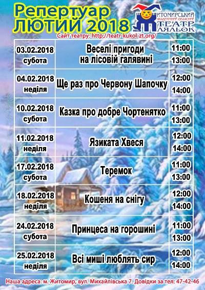 Репертуар театру ляльок в Житомирі