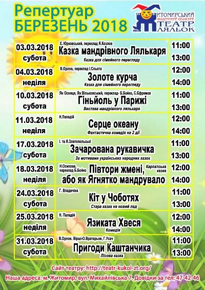 Репертуар театру ляльок на березень 2018 року