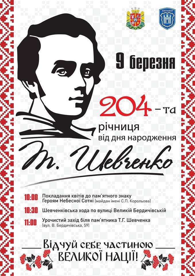 Флешмоби, книжкові виставки, мистецькі вернісажи: Житомир святкуватиме день народження Шевченка до 14 березня