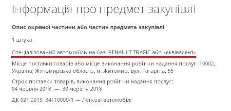 Житомирське ГУ Держспоживслужби придбає авто за понад 1 млн гривень