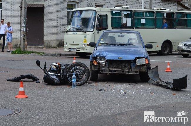 Неподалік ЖДУ ім. Франка автомобіль зіштовхнувся із мотоциклом. ФОТО