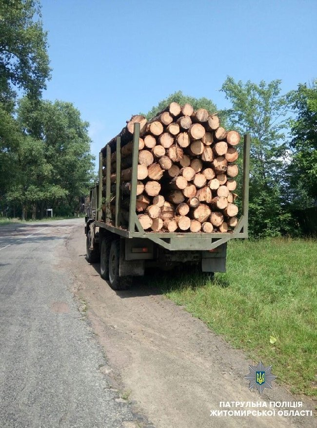 На Житомирщині патрульні затримали «КамАЗ» за порушення ПДР, а в причепі виявили рубаний ліс без документів. ФОТО
