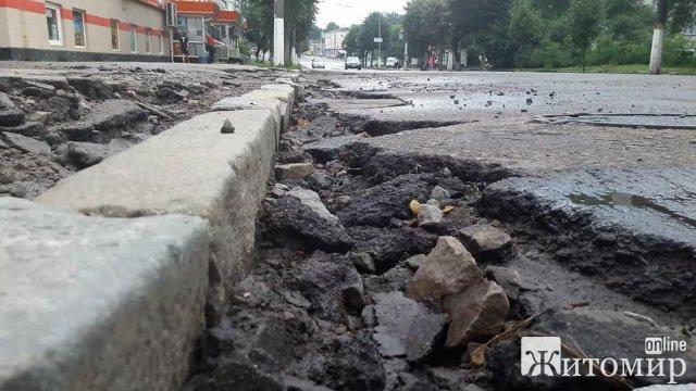 У Житомирі на площі Перемоги асфальт зняли, новий не поклали і залишили руїни. ФОТО