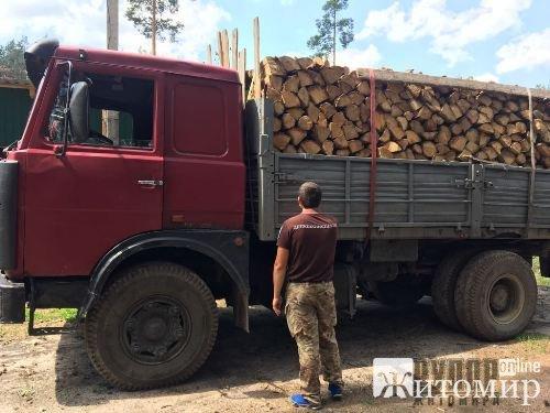 В Коростенському районі працівники Державної екологічної інспекції зупинили вантажівку з незаконним дубом