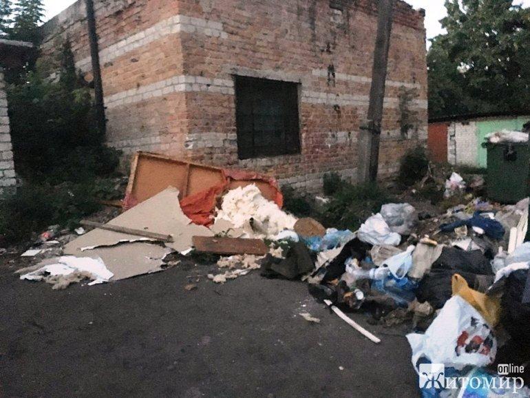 Житомирянку Юлію Рубан обурило відключення води та невивіз сміття більше тижня. ФОТО