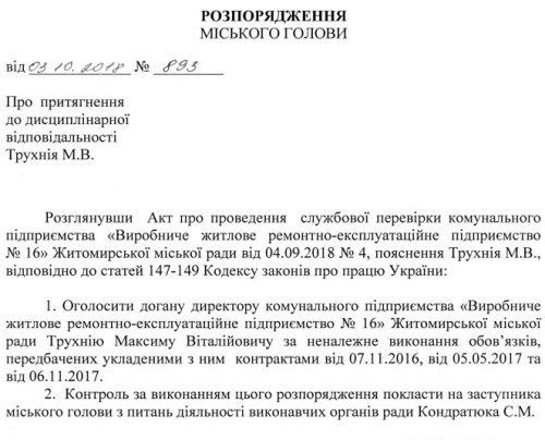 Директору КП «Виробниче житлове ремонтно-експлуатаційне підприємство №16» Максиму Трухнію міський голова оголосив догану