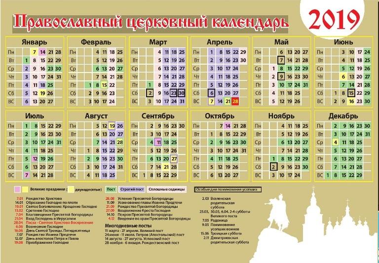 Православний церковний календар на 2019 рік