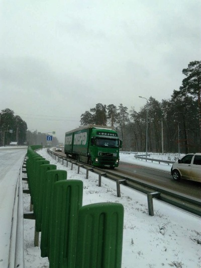 Вантажівка на Житомирщині потрапила у сніговий замет. ФОТО
