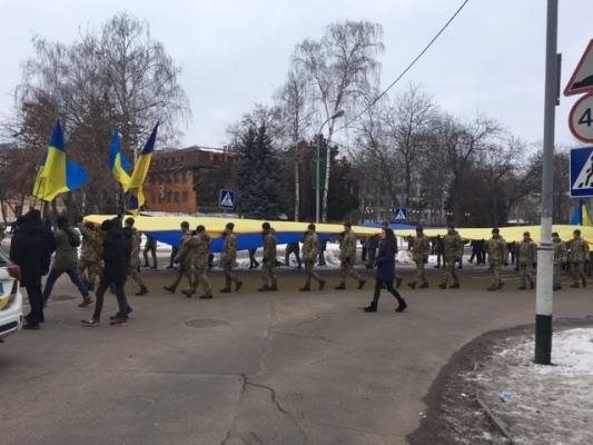 У День Соборності мешканці Житомирщини розгорнули 200-метровий прапор.ФОТО