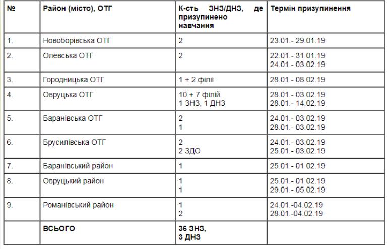 5,5% шкіл Житомирщини закриті на карантин