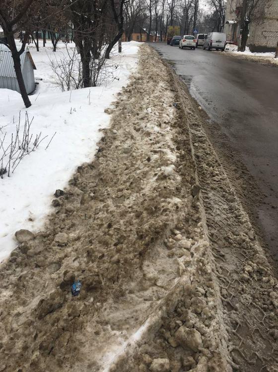 """В Житомирі керівництво ЖЕКу №4 """"не бачить"""" кучугури снігу навіть біля своєї будівлі. ФОТО"""