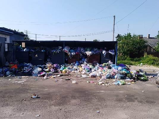 В Бердичеві не прибрані гори сміття біля сміттєвих баків. ФОТО