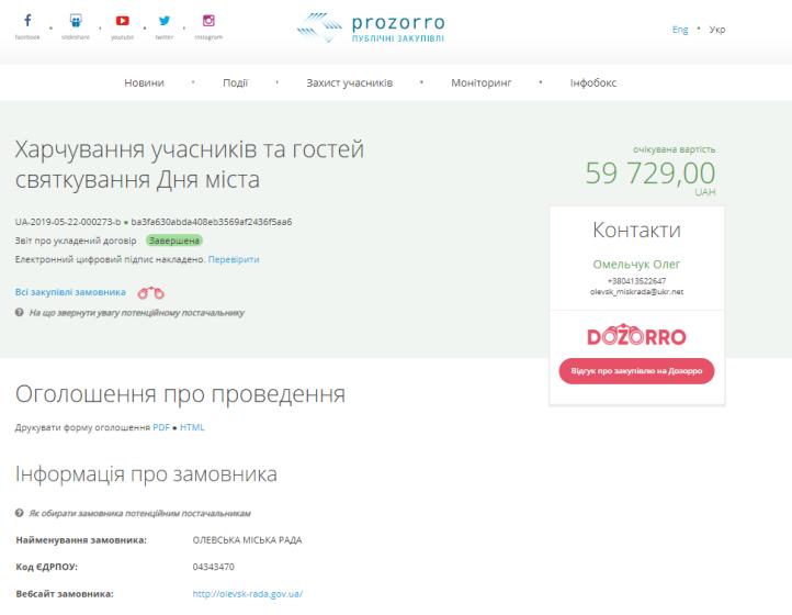 Застілля в кафе на день міста Олевськ обійшлося мерії майже в 60 тисяч гривень