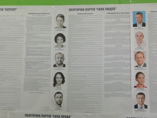 """На Житомирщині плакати партії """"Сила людей"""" чорно-білі із синім написом, всі інші — кольорові.ФОТО"""