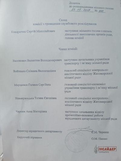 У Житомирі відсторонили від виконання посадових обов'язків начальника ТТУ