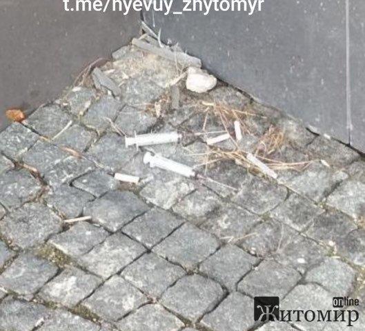Біля одного з візових центрів у Житомирі на купці валяються шприці