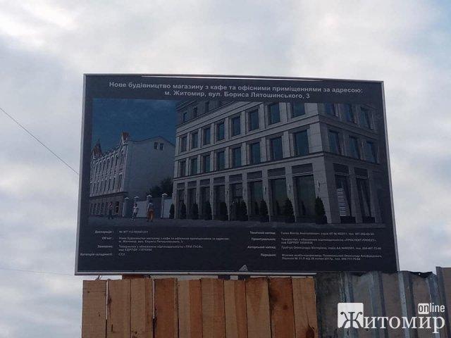 У Житомирі на Лятошинського будують магазин з кафе та офісами