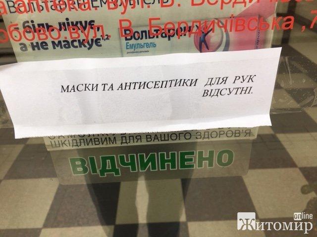 У житомирських аптеках так і не з'явилися в продажу захисні маски та рукавички. ФОТО