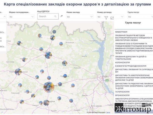 Нацслужба розробила карту спеціалізованих закладів охорони здоров'я з деталізацією за групами