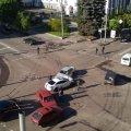 На перехресті у центрі Житомира зіткнулися три ВАЗи і Mazda, на місце викликали «швидку»