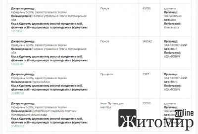 Доходи начальника ПФУ Житомирської області за 2019 рік. ФОТО