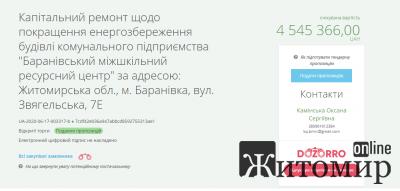 """Оголошено тендер для капітального ремонту КП """"Баранівський міжшкільний ресурсний центр"""""""
