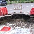 У Житомирі на вулиці Параджанова, де минулоріч уклали новий асфальт, утворилося провалля