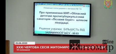"""Житомирська облрада проголосувала за припинення дії протитуберкульозного санаторія """"Лісовий берег"""""""
