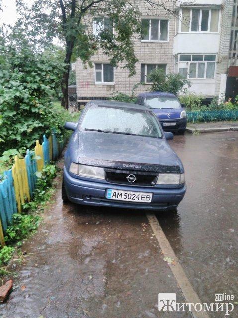 У Житомирі на Мазепи водій залишив своє авто на тротуарі, бо на дорозі води багато. ФОТО
