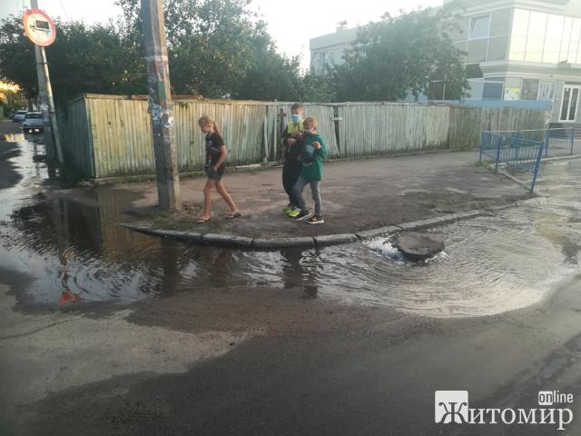 Пожежники у Житомирі пошкодили гідрант та вода тече по дорозі безупинно. ФОТО