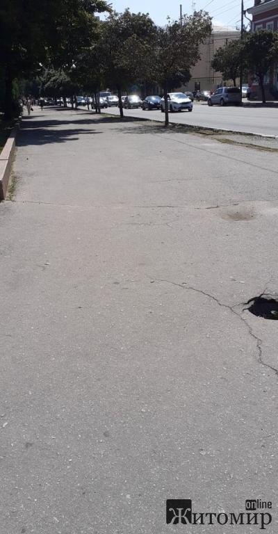 Аварійна дірка на тротуарі в Житомирі, яку дорожні ремонтні служби не бачать роками. ФОТО