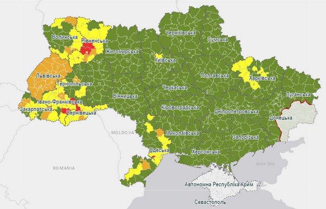 """Оновлена карта епідемічної небезпеки: Житомирщина стала """"зеленою"""""""