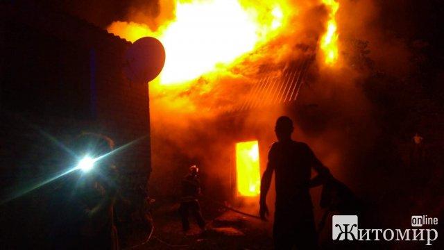 У місті Житомирської області горіла господарча будівля, власники рятували худобу. ФОТО