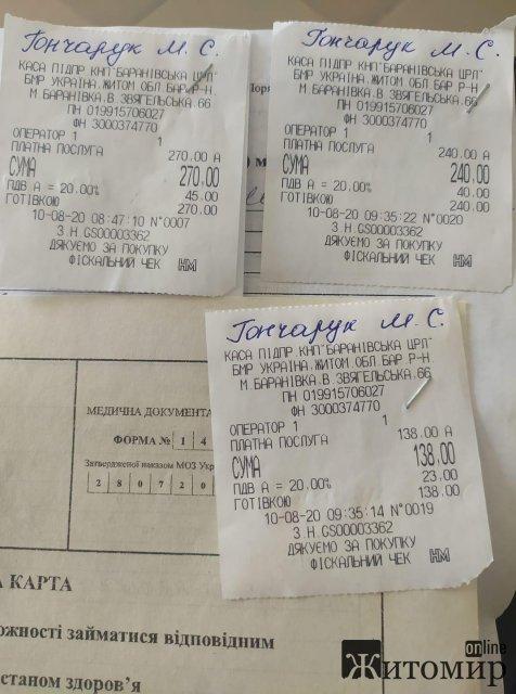 Жительку Житомирської області, яка закінчила медколедж, обурили ціни за медичний огляд. ФОТО