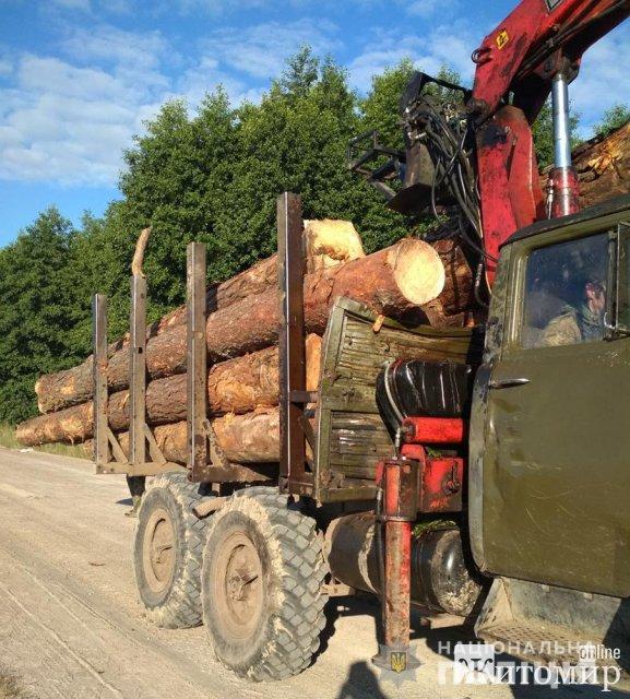 На Житомирщині поліцейські зупинили трактор з деревиною, а увечері провели обшук на підприємстві. ФОТО