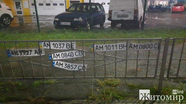 """Після дощу Житомир """"всіяний"""" номерними знаками"""