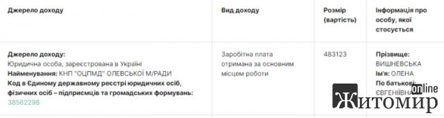 Головний лікар Олевської ЦПМД у 2019 році заробила близько пів мільйона гривень