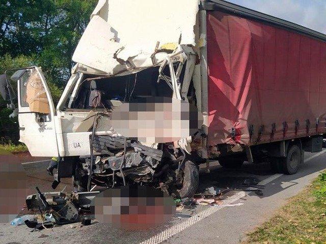 На трасі Київ-Чоп сталося лобове зіткнення двох вантажівок, один водій загинув. ФОТО