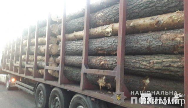 """На Житомирщині поліцейські зупинили """"ДАФ"""" з деревиною. ФОТО"""