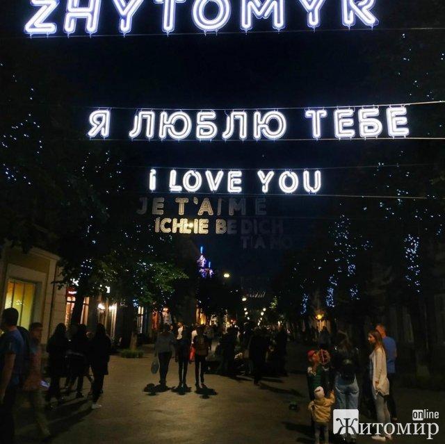 На Михайлівській у Житомирі розвісили світлові літери на 170 тис. грн. ФОТО