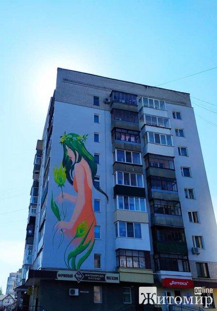 У Новограді-Волинському на фасаді будинку створили мурал із зображенням Мавки. ФОТО