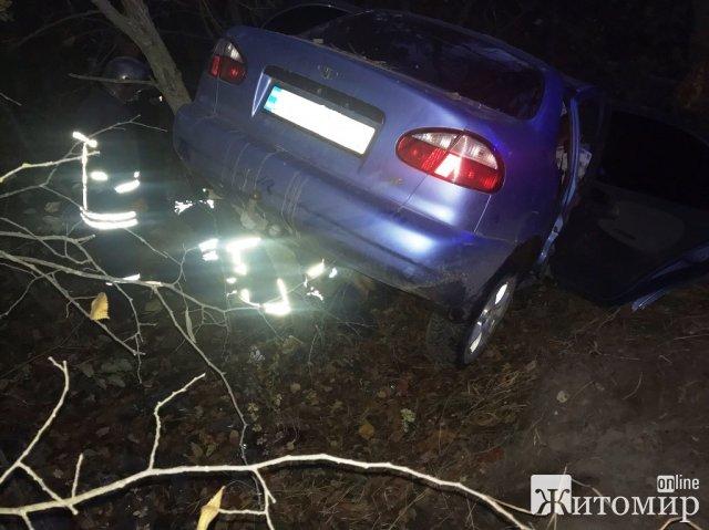 На Житомирщині Lanos з'їхав у кювет та врізався в дерево. ФОТО